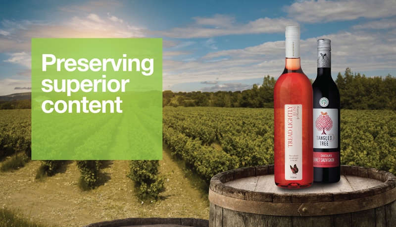 Preserving wine in PET packaging